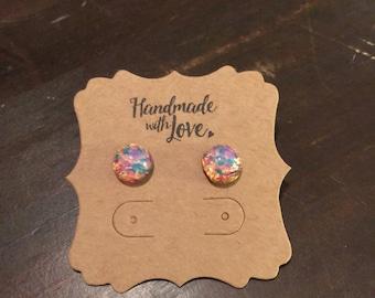 11mm Vintage fire opal stud earrings