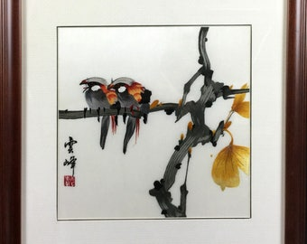 Embroidery , The branches of two birds