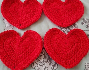 Valentine Crochet Hearts set of four