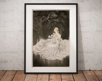 Louis Icart - Lilies, Louis Icart print,  Art deco, Wall Art, Framed print, PP005