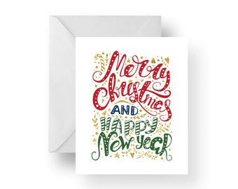 Christmas Cards, Holiday Cards, Christmas Note Cards, Merry Christmas and Happy New Year, Christmas stationery