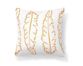 Throw Pillow Flower, Decroative Pillow, feather Pillow, white pillow, orange pillow, orange and white pillow