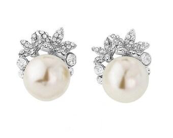 Pearl earrings, birthday present, gift for her, ivory pearl Earrings, crystal pearl earrings, wedding earrings, bridal earrings