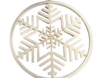 3D Printed Gyroscope White Snowflake Christmas Ornament