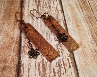 Flower dangle, flower embossed copper earrings, aged copper, antiqued copper
