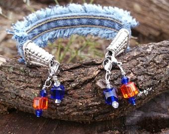Denim Cuff Bracelet with Charms