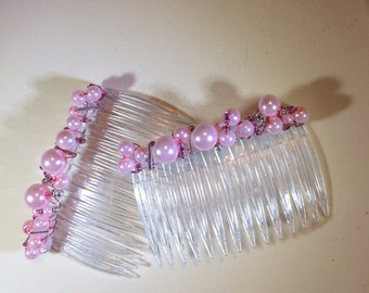 Hair Slides in Pink Pearl and Silver