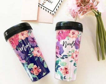 Personalized Floral Coffee Tumblers | EB3135FL
