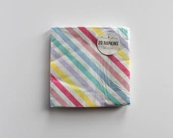 Rainbow Stripe Napkins / Rainbow Napkin / Pastel Stripe Napkins / Rainbow Dinner Napkins