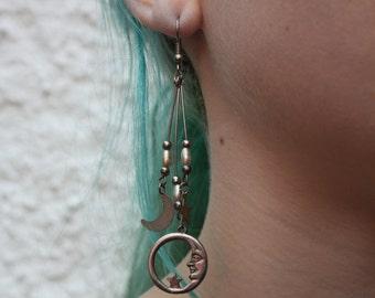 Moon & Stars Drop Earrings, Vintage Sterling Silver, Space Earrings, Hanging Earrings