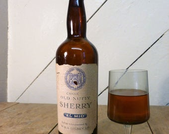 Vintage Gilbey's 'Old Nutty' Sherry Bottle (empty) (stock #6210)