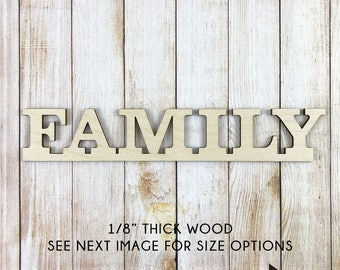 Family Wood Word Sign, Laser Cut Uppercase Letter Wooden Words, Wall  Gallery Word Art