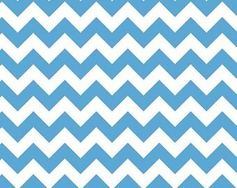 "Riley Blake Designs     ""Medium Chevron"" in Neon Blue    100% Cotton Remnant"