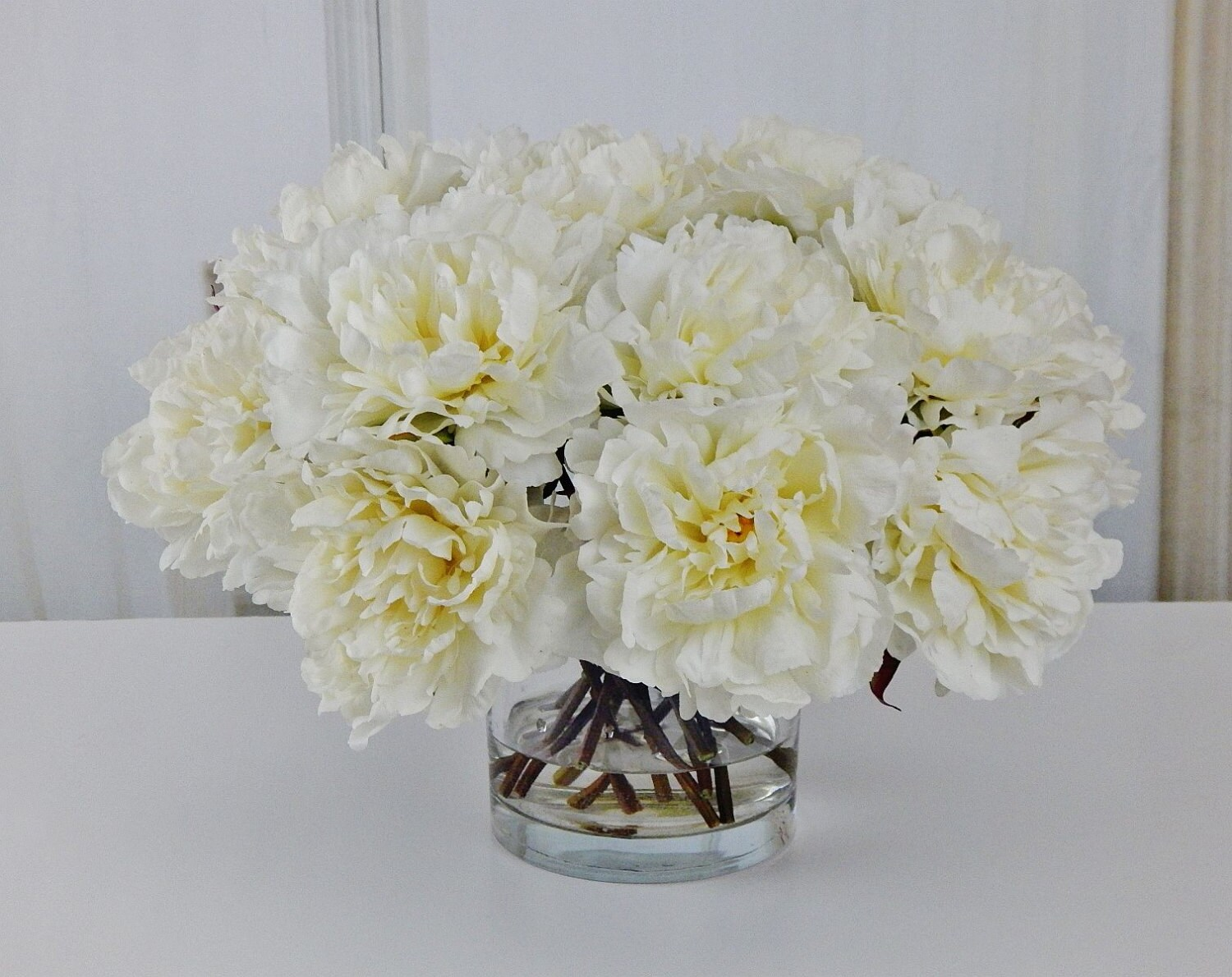 Large white peonypeonies silk modern floral arrangement large white peonypeonies silk modern floral arrangement glass vase faux water acrylicillusion real touch flowers centerpiece reviewsmspy