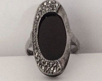Onyx & Marcasite Sterling Silver Ring Size 9
