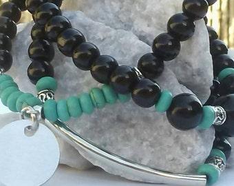 Stackable set of 3 black turquoise bracelets