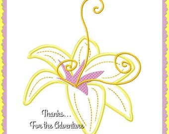 Rapunzel's Magical Golden Flower from Tangled Applique Digital Embroidery Machine  Design File 4x4 5x7 6x10