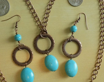 Turquoise Howlite and Antique Copper Necklace and Dangle Earrings with Choice of Hooks