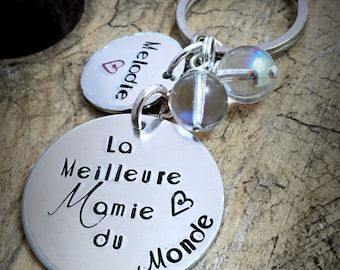 Hand Stamped 'La Meilleure Mamie du Monde', Personalised Message French Keyring