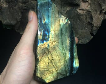 Naturally Polished Labradorite Slab with Cut Base - Top Grade Multi-Flash Labradorite from Madagascar - Conflict-Free Crystals
