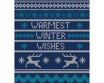 Christmas Card - Warmest Wishes Winter Xmas Jumper Blank Blue Card CP3105