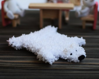 Dollhouse miniature rug White fur rug  Polar bear rug White bear skin rug for dollhouse Miniature bear rug Mini polar bear rug bear fur