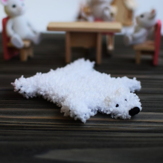 Dollhouse Miniature Rug White Fur Rug Polar Bear Rug White