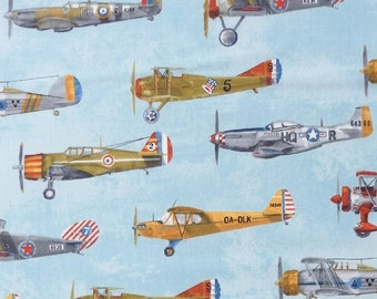 Robert Kaufman Transportation - classic vintage military fighter aircraft airplane fabric - Blue - Per 1/2 metre - 100% Cotton
