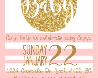 Pink & Gold baby shower invite / girl baby shower invitation / girly digital shower invites / baby shower inviations / digital invitations