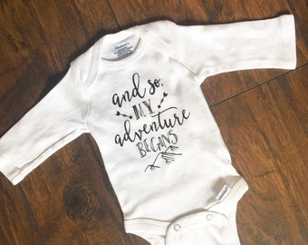 And so my adventure begins one piece / baby bodysuit / baby shower gift / coming home outfit