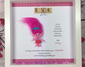 Personalised scrabble Poppy Troll  frame - Branch Frame-Troll present for someone special-daughter gift- birthday- gift-Troll fan gift