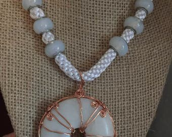 White Kumihimu Necklace with Donut Pendant