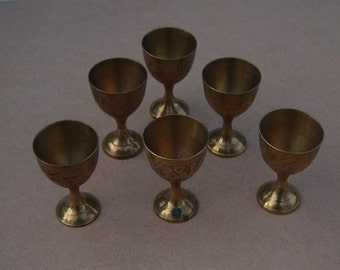 Miniature Wine Goblets - Brass - Etched Design - Vintage Brass