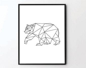 Bear Print, Geometric Bear Art, Bear Wall Art, Black Bear, Geometric Wall Prints, Geometric Wall Art, Geometric Prints, Geometric Poster
