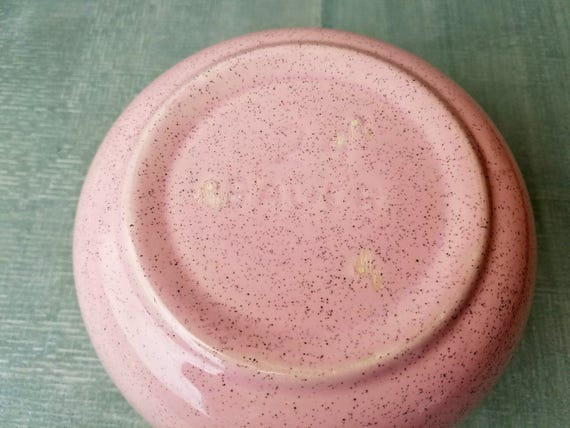 Vintage Bauer Pottery Mixing Bowl Pink Speckled Wedding