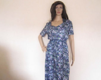 Vintage 60s dress dress robe Mille fleurs flowers S
