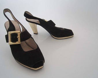 Vintage 70s platform Sandals shoes suede 36