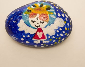 Hand painted stone, painted rocks Baltic sea stone, Magic small Angel, rock art, miniature painting,  Angel Stone,  meditation stone
