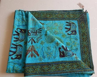 Bedspread, Quilt, hand embroidered, elephant, animal, rajasthani motifs,Indian ethnic throw, kingsize multicolor, aqua blue