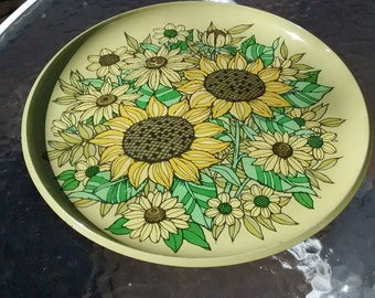 Sunflower tray vintage melamine plastic tray drink serving tray flower power green tray with sunflowers round tray