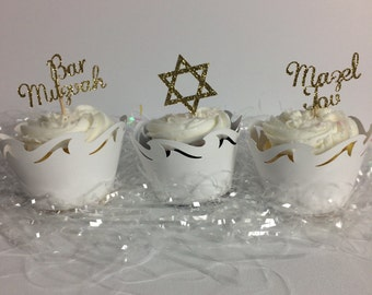 Bar Mitzvah Mazel Tov Star Congrats Gold Glitter Cupcake Toppers Party