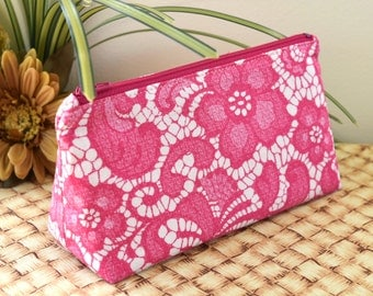 Triangular Prism Shape Zipper Bag in Pink Lace Hawaiian Print Fabric with Pink Zipper and Lining, Small Zip Pouch for Travel or Organization