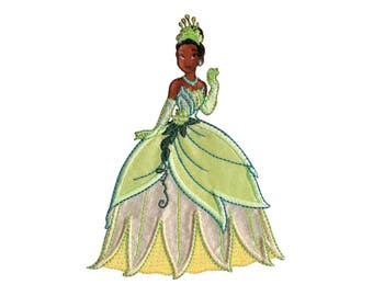 DISNEY Iron On Applique Princess Tiana 3.75 x 4.75 inches - Princess Patch - Kids Iron On Patch - Embroidered Patch (451051)