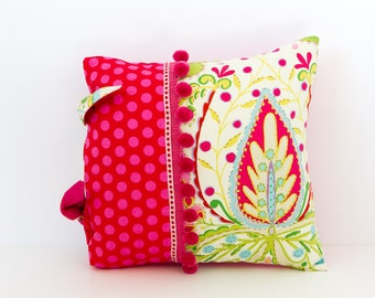Multi-coloured Floral Cushion, Decorative Pillow, Square Cushion, Pink and Red Cushion, Kumari Garden Fabric, Accent Pillow, Gift for Her