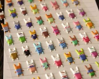 Puffy 3D stickers Cute Rabbit Sticker Sheet, Cute Planner Stickers, Cute Kids Stickers, Kawaii Stickers Set