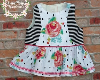 Floral peplum top, black and white peplum, floral dress, pink dress, black and white dress, striped dress, striped peplum, birthday outfit