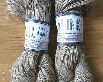 "KALINKA Karin Oberg Helsingland lot 2 skeins ""Natur"" 100g x 320 m 100% linen flax hot 4 Ply - price is for 2 skeins"