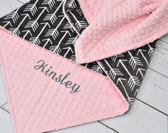 Baby Girl Blanket-Personalized Girl Tribal Minky Baby blanket- Grey arrow minky blanket - Arrow baby blanket-Tribal nursery-Gender Neutral
