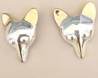 Adorable Vintage Fox Earrings .
