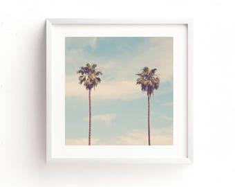 palm tree print, digital file, printable art, California decor, blue, photography, baby nursery, beach print, palm tree photo, Myan Soffia